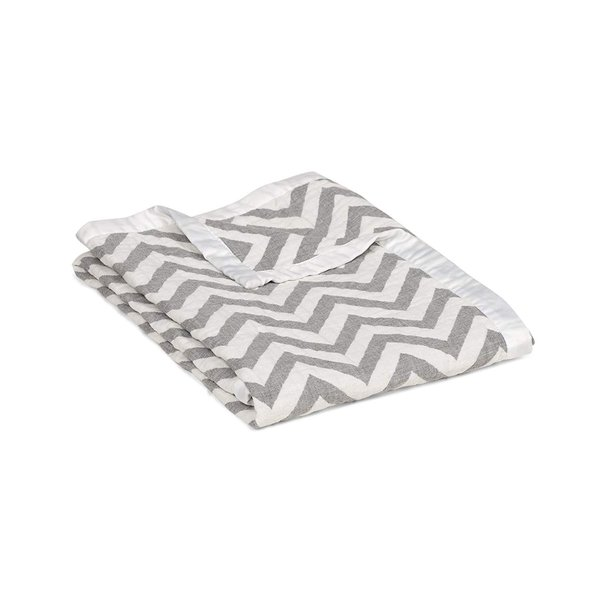 View larger image of Muslin Jacquard Blanket - Grey Chevron