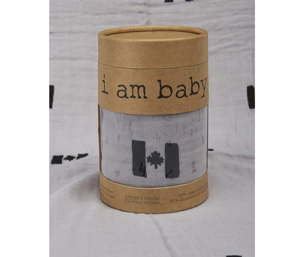 View larger image of Muslin Swaddle - Canadian - Black/Grey