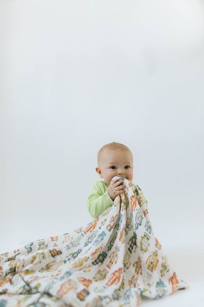 View larger image of Luxe Muslin Swaddle - Robots