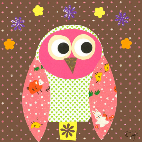 """View larger image of Mod Owl on Chocolate - 21"""" x 21"""""""