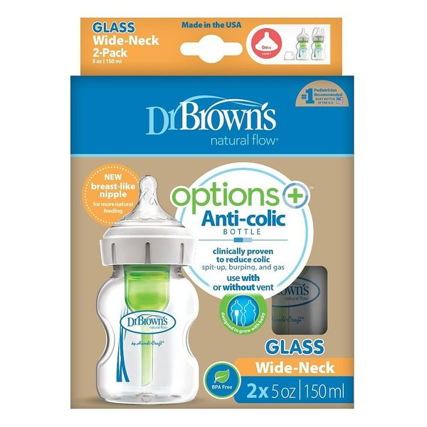 View larger image of Options+ 5oz Glass Wide-Neck Bottle - 2pk