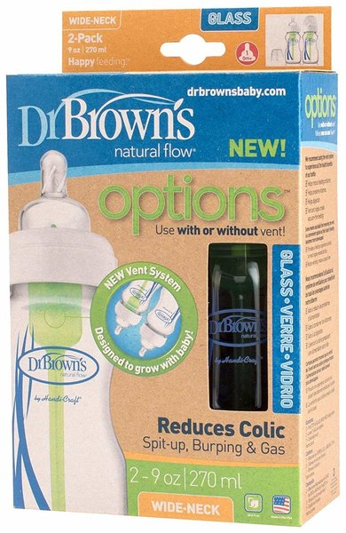 View larger image of Options 9oz Glass Wide-Neck Bottle - 2pk