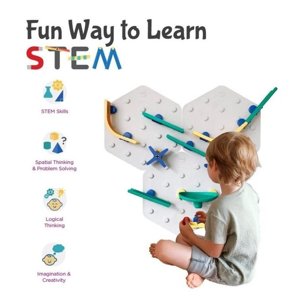 View larger image of VertiPlay STEM Marble Run | Triple Fun Set of 3 - Crayon Edition