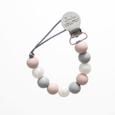 Pacifier Clip - Rose & Grey