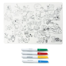 Coloring Silicone Placemat with Markers - Zoo