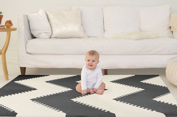 View larger image of Playspot GEO Foam Floor Tiles Playmat - Black/Cream