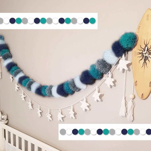 View larger image of Bunting Pom Pom-Blue