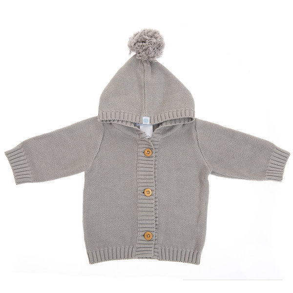 View larger image of Pom Pom Knit Hoodie - Grey