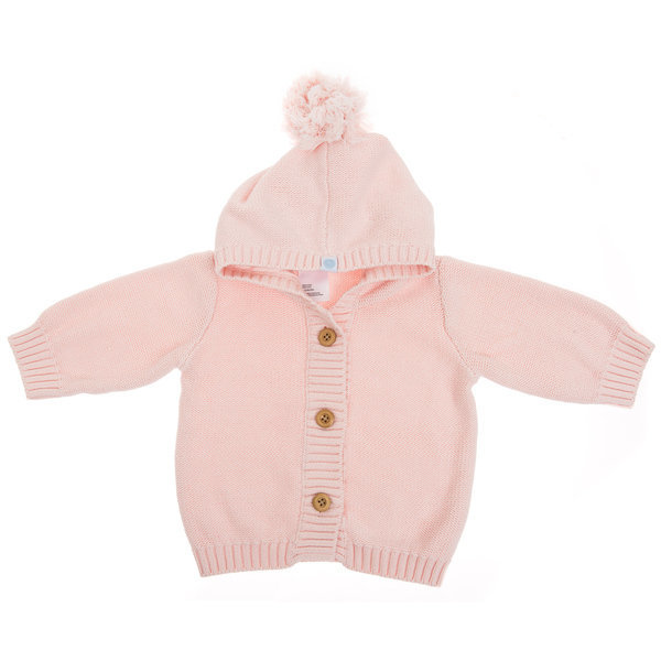 View larger image of Pom Pom Knit Hoodie - Pink
