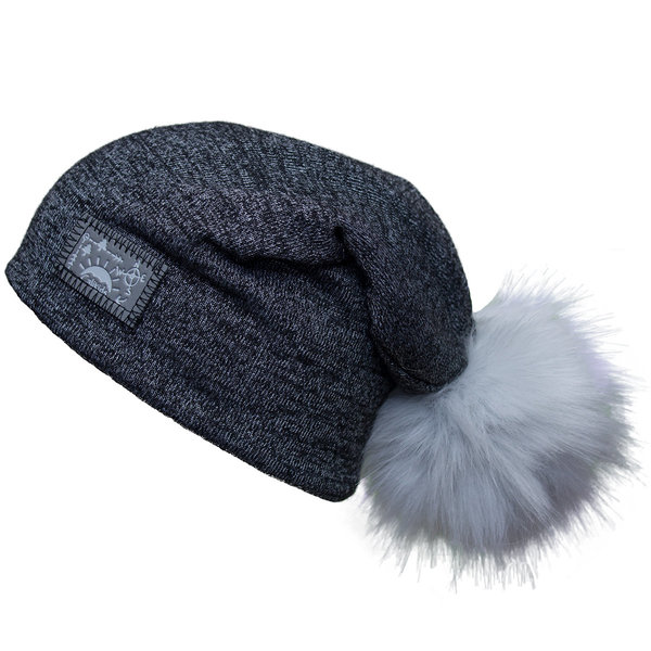 View larger image of Pom Slouchy Hat - Black
