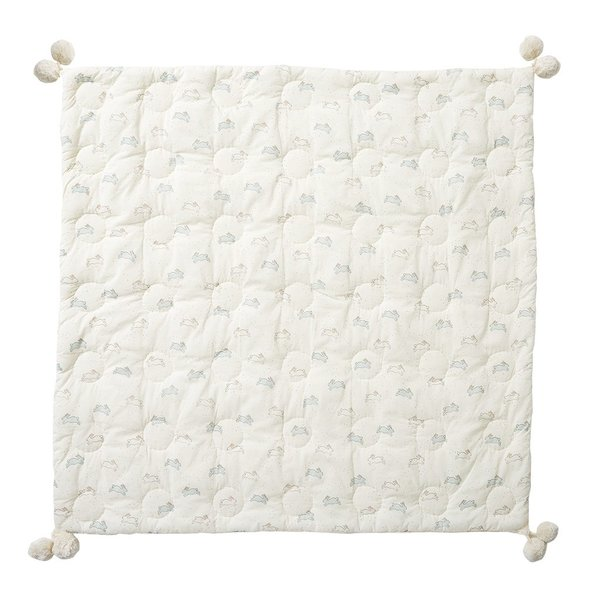 View larger image of Quilted Pom Pom Blanket - Tiny Bunny