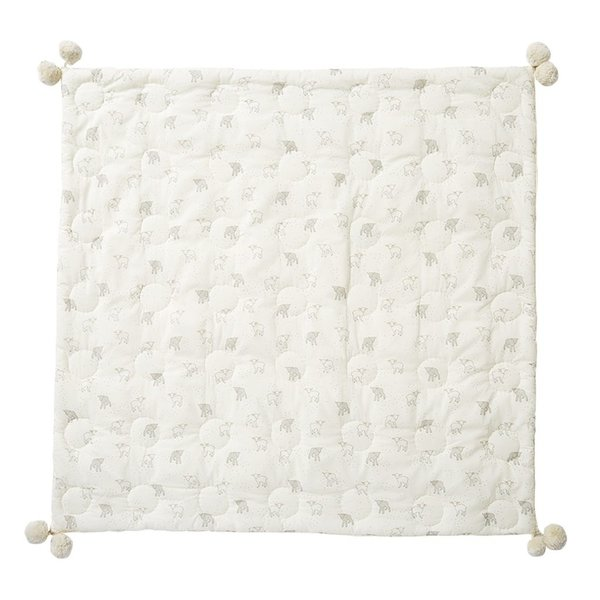 View larger image of Quilted Pom Pom Blanket - Little Lamb
