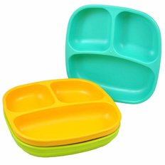 Divided Plates - 3pack - Aqua/Green/Yellow
