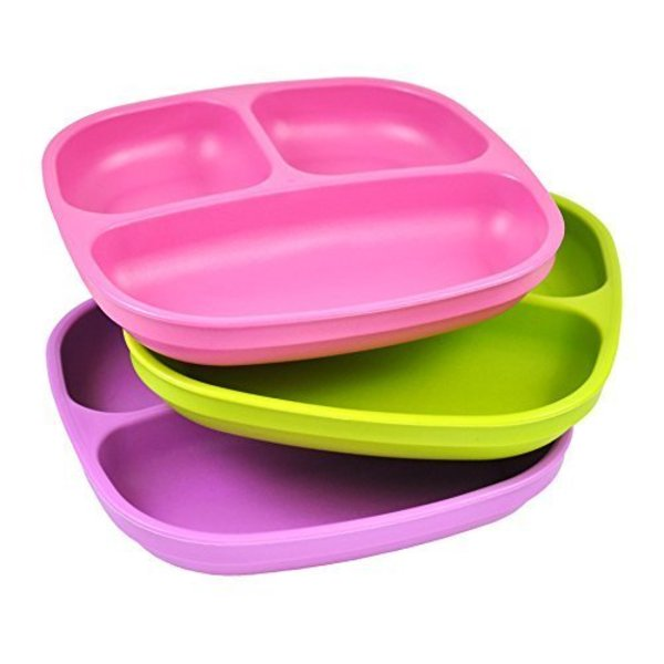 """View larger image of 7"""" Divided Plates - 3pack - Green/Pink/Purple"""
