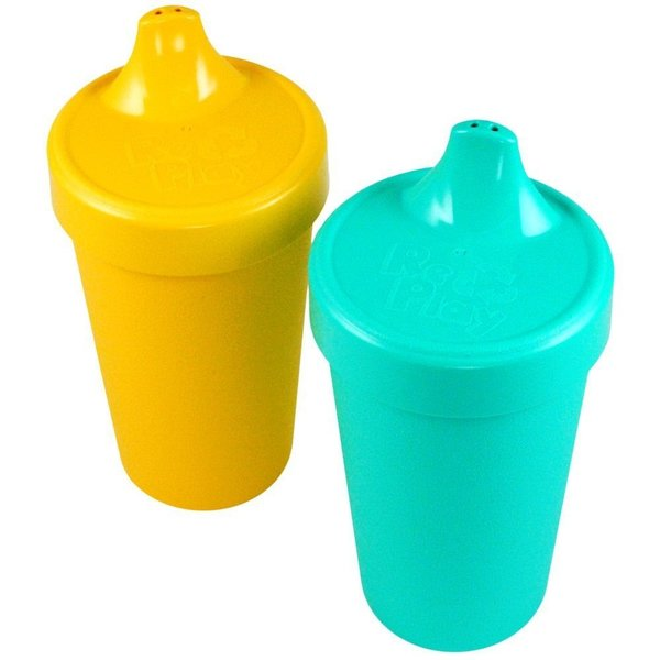 View larger image of No-Spill Sippy Cups - 2pack - Aqua/Yellow