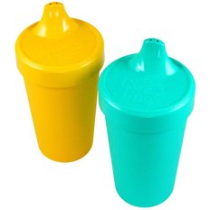 No-Spill Sippy Cups - 2pack - Aqua/Yellow