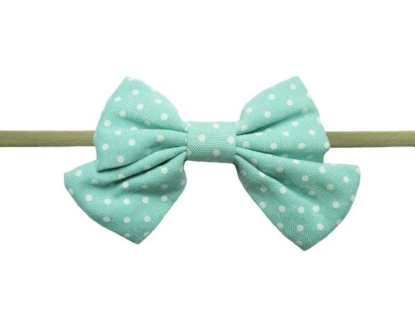 View larger image of Oversized Vintage Sailor Bow Headband - Aqua Polka Dot