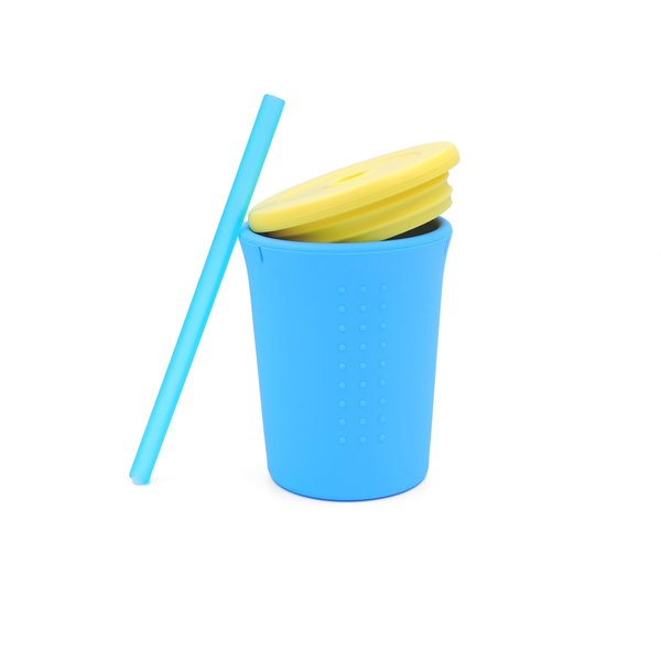 View larger image of Silicone Straw Cup - 12oz - Blue