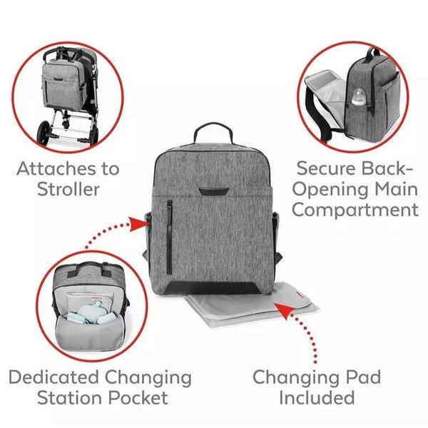 View larger image of Back Open Diaper Backpack - Grey