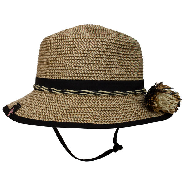 View larger image of Straw Flap Hat - Black Combo