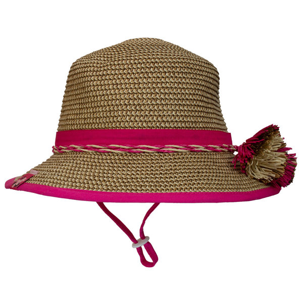 View larger image of Straw Flap Hat-Raspberry Combo-M