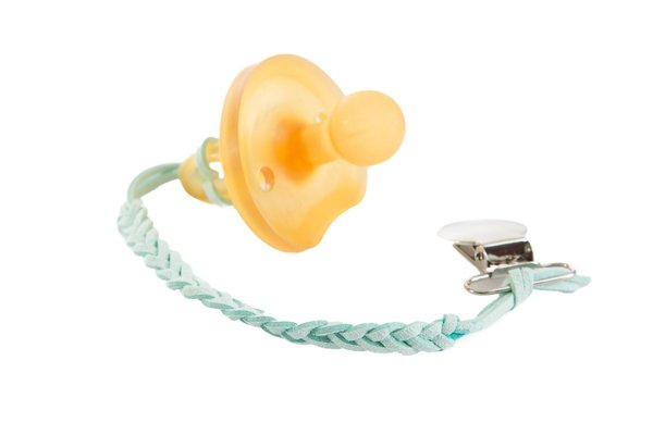 View larger image of Suede Pacifier Clip - Mint Green