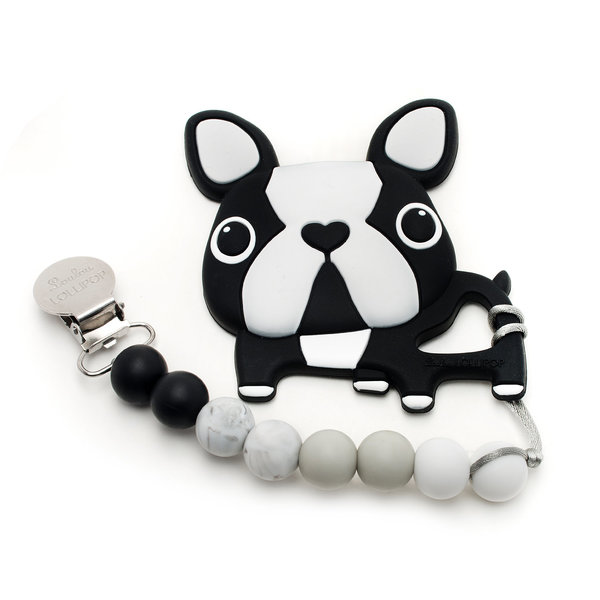 View larger image of Boston Terrier Silicone Teether Holder Set