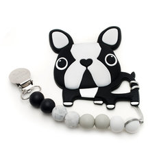 Boston Terrier Silicone Teether Holder Set