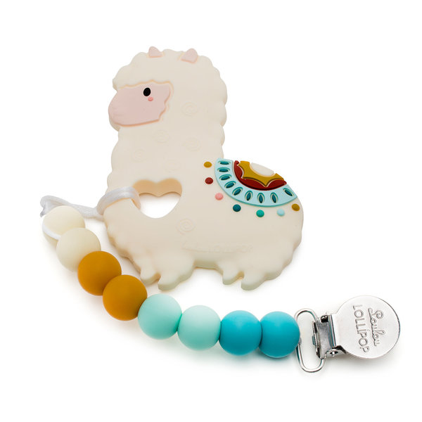 View larger image of Llama Silicone Baby Teether Holder Set