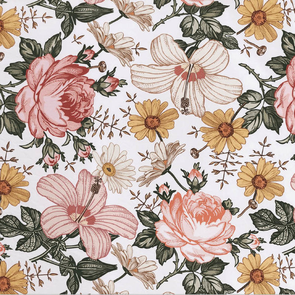 View larger image of Crib Sheet - Garden Floral White