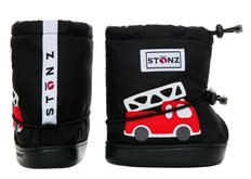 Booties - Black Fire Truck - Toddler
