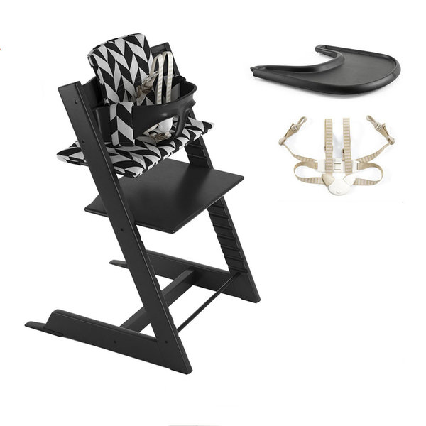 View larger image of Tripp Trapp High Chair Complete - Black Chevron