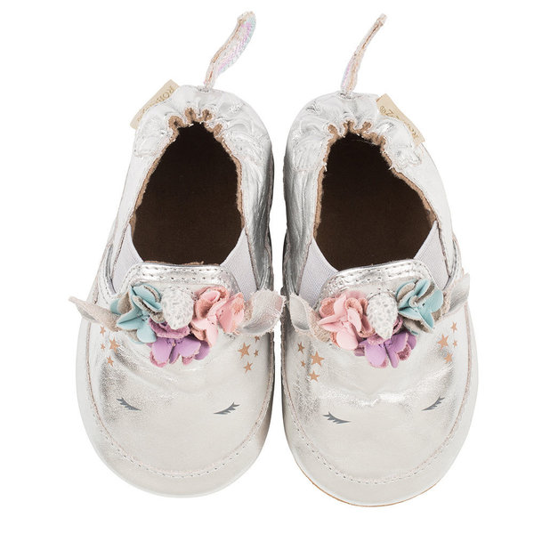 View larger image of Metallic Silver Unicorn Soft Sole Shoes