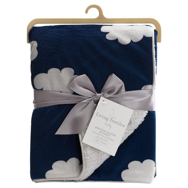 View larger image of Printed Velour Blanket Navy Cloud