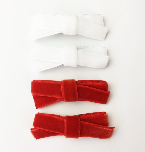 View larger image of 4 Small Snap Velvet Hand Tied Bows