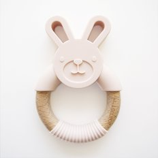 Bunny Silicone and Wood Teether - Blush